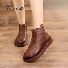 Tastabo Handmade Boots Women Genuine Leather Ankle Boots Artificial Velvet Handmade Lady soft Flat shoes Casual Women's shoes