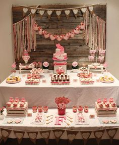 Rustic hearts shabby chic birthday party! See more party planning ideas at CatchMyParty.com!
