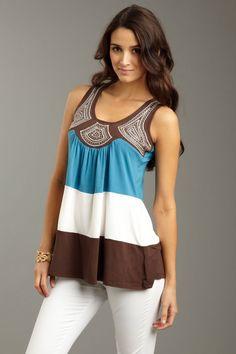 Sunburst Embroidered Bamboo Tank Top #bamboo #women #blue #Tops #fashion #dress bamboomo.com