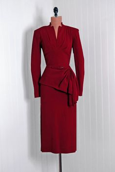 1940s red suit, gathered at hip - Timeless Vixen Vintage