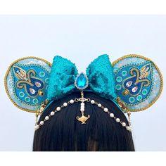 Handmade Princess Jasmine Aladdin Disney Inspired Minnie Mouse Ears from 321 Gli. Diy Disney Ears, Disney Minnie Mouse Ears, Mickey Mouse Ears Headband, Disney Diy, Disney Crafts, Disney Headbands, Ear Headbands, Aladdin Et Jasmine, Princess Jasmine