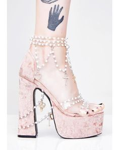 Free, fast shipping on Holy Revelation Platform Heels at Dolls Kill, an online boutique for kawaii fashion. Shop Sugar Thrillz clothing, shoes, & accessories here. Pretty Shoes, Cute Shoes, Me Too Shoes, Stilettos, Pumps Heels, High Heels Plateau, Kawaii Shoes, Aesthetic Shoes, Platform High Heels