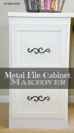 Our Gilded Abode - File Cabinet Makeover Redo Furniture, Diy Desk, Craft Room, Home Diy, File Cabinet Makeover, Metal Filing Cabinet, Space Crafts, Furniture Makeover, Desk Makeover Diy