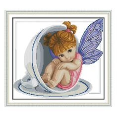 Joy Sunday counted cross stitch kits embroidery kits angel in cupDMC14CT11CT fabric baby room child toy painting deal wholesale