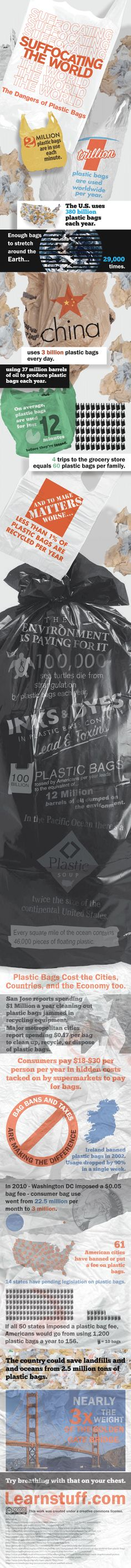 Don't take plastic bags every time you shop at the supermarket....  If you must use plastic bags,  always choose degradables,