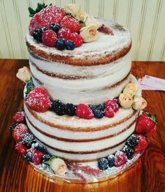 Triple Berry Naked Cake
