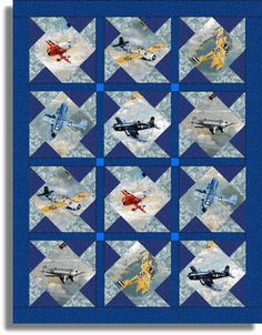 Dazzling Vintage Aircraft: The Major Attractions Of Air Festivals Quilting Projects, Quilting Designs, Quilting Ideas, Sewing Projects, Panel Quilts, Quilt Blocks, Airplane Quilt, Baby Boy Quilts, Kid Quilts