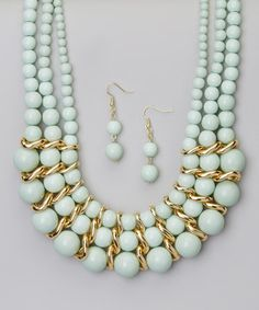 Love this Mint Bead Necklace & Drop Earrings by Accessories West Imports on #zulily! #zulilyfinds