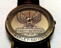 Harley Davidson Bulova Watch Eagle Bar Shield Brown Leather Band Needs Battery #Bulova #harleydavidson #watch