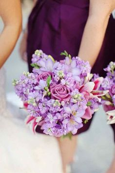 purple wedding flowers in may