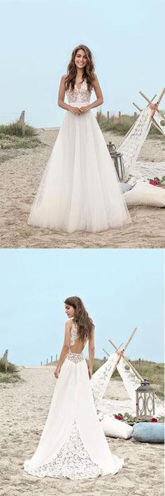 Wedding Dresses 2018 #WeddingDresses2018, V-Neck Wedding Dress #VNeckWeddingDress, Open Back Wedding Dress #OpenBackWeddingDress, V-neck Wedding Dress #VneckWeddingDress, Cute Wedding Dress #CuteWeddingDress, Lace Wedding Dress #LaceWeddingDress