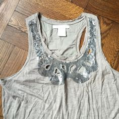 Sequined racer back tank Lined on the top. Never worn and purchased in the UK. Soft and comfy! Charlotte Russe Tops Tank Tops