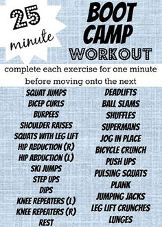 25 Minute Boot Camp Workout!