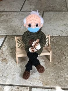 this bernie sanders crochet doll raised more than $40k for charity Crochet Mittens, Mittens Pattern, Free Crochet, Quick Crochet, Bernie Sanders, Crochet Doll Pattern, Crochet Dolls, Crochet Faces, Crochet Things