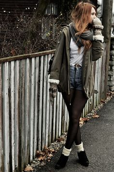 coat, thick infinity scarf, white top, gloves, high waisted jean shorts, tights, and boots. yeap.