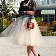 Love this outfit!  Plaid button down with a tulle skirt <3