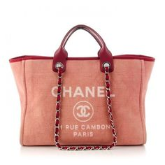 CHANEL Canvas Large Deauville Tote Red ❤ liked on Polyvore featuring bags, handbags, tote bags, chanel purse, chanel tote, canvas tote bags, zipper tote and zippered canvas tote