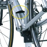 Rubber coated down tube clamp and bottom bracket cradle hold bike securely, won't harm bike's finish