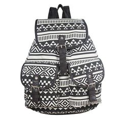 Amazon.com: Coofit® New Vintage Tribal Boho Style Floral Lady's Canvas Backpack (Black): Clothing