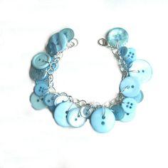 Pastel Blue Button Charm Bracelet Soft Aqua by LovesParisStudio, $30.00