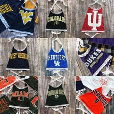Custom college apparel, lace up shirts and tees. Football Jackets, Football Outfits, Fair Outfits, College Outfits, Homecoming Outfits, College Apparel, Sports Apparel, Tailgate Outfit, Lace Halter Top