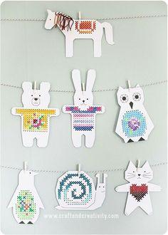 Korsstygn till barnrummet - <br><i>Cross stitch paper animals</i> Kids Crafts, Animal Crafts For Kids, Projects For Kids, Sewing Projects, Arts And Crafts, Paper Animal Crafts, Paper Animals, Paper Crafts, Cross Stitching