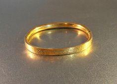 Victorian Revival Etched Bangle Bracelet 12K by LynnHislopJewels