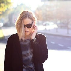 tifmys - Céline sunnies & Zara coat and checked dress.