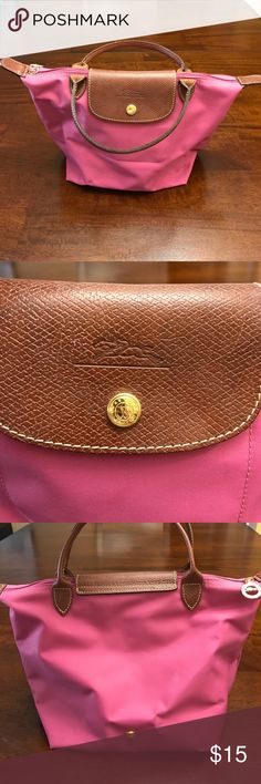 Longchamp Le Pliage Top Handle Tote Small Nylon and Leather Longchamp Bags Totes