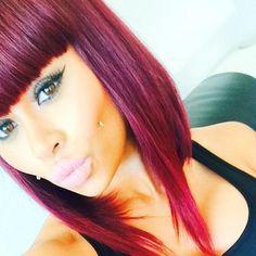 Blac chyna red sleek bob cut with bangs