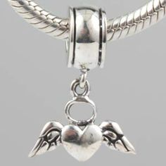 Flying Love Heart Dangle Authentic 925 Sterling Silver Core Beads Love