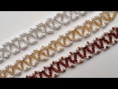 Beginner DIY jewelry tutorial. 3 beautiful seed beads and pearl beads bracelets - YouTube