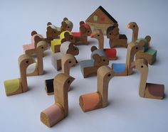recycling wooden blocks into gorgeous little swans at http://fraleise.blogspot.com/