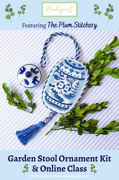 This charming blue and white garden stool from The Plum Stitchery will never go out of style! 💙#ndlpt #needlepointornaments #needlepointkit #needlepointclass #ThePlumStitchery #needlepointdotcom