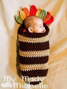 Stripe Baby Cocoon Turkey Crochet Pattern Thanksgiving 2014 - Thanksgiving Crafts, Thanksgiving Gifts