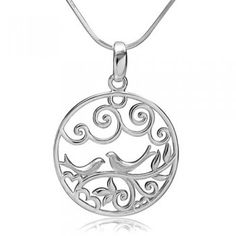 Silver Lovebirds Pendant Necklace