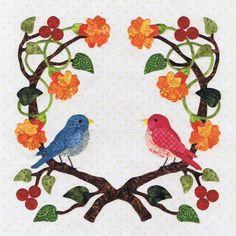 P3 Designs: Baltimore Spring Quilt patterns: Block 6 Love Bird Wreath