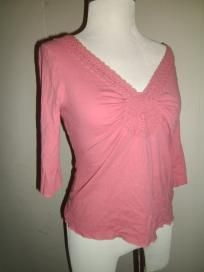 Cute Knit Shirt by Eyeshadow - 3/4 inch Sleeves - Size Large - Peach/Salmon - FREE SHIPPING