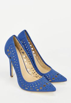 Swoon! This whimsical pump is making our shoe dreams come true. Featuring laser cut detailing and a fierce pointed toe, you'll want to rock these everywhere you go! Faux leather....