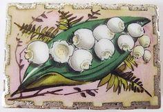Victorian Enamel & Silver Locket Back Brooch Lillies of the Valley