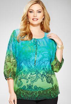 Plus Size Paisley Ombre Peasant Blouse   Plus Size Shirts & Blouses   Avenue