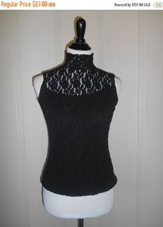 90s black lace top shirt, sleeveless blouse. Too big for me, sadly.
