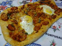 Chourico and egg flat bread recipe from Tia Maria's Blog