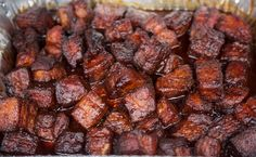 Tray of Finished Pork Belly Burnt Ends