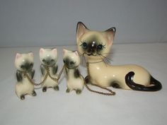 Vintage Norcrest Japan Porcelain Mother Cat w/Three Kitten Chained Figurine