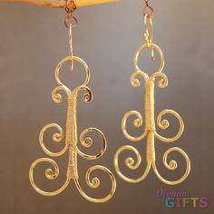 "Hammered curly shapes, 2"" Earring Gold Or Silver"