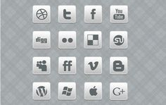 Black and White. Social Media Icons