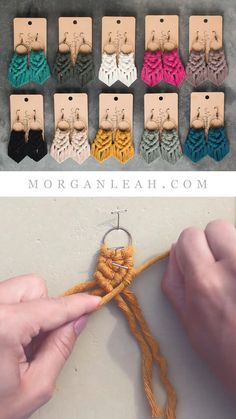 Diy Macrame Earrings, Macrame Jewelry, Macrame Art, Macrame Projects, Diy Earrings, Fabric Jewelry, Crochet Necklace, Rope Crafts, Yarn Crafts