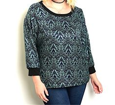 Plus+Size+Damask+Crop+Sleeve+Top+Blouse