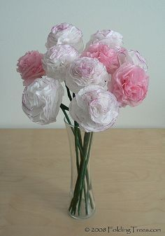 These are gorgeous! ~ Tutorial : Tissue Paper Carnations from FoldingTreesCom ~